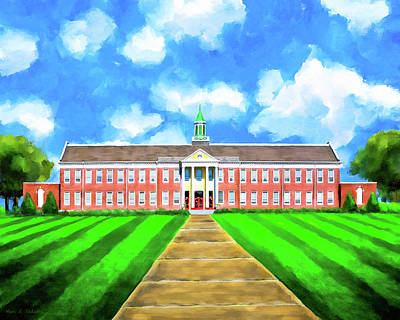 Old Main - Andalusia High School Art Print by Mark E Tisdale