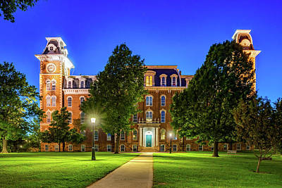 Photograph - Old Main At Twilight - University Of Arkansas by Gregory Ballos