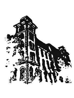 Cosmopolitan Drawing - Old Main Building In Fayetteville Ar by Amanda  Sanford