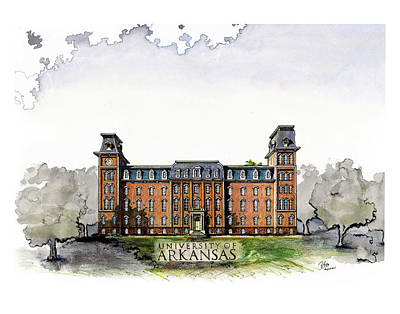 University Of Arkansas Drawing - Old Main Of University Of Arkansas Diploma Size by Yang Luo-Branch