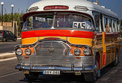 Photograph - Old Maltese Public Service Bus by Alex Saunders