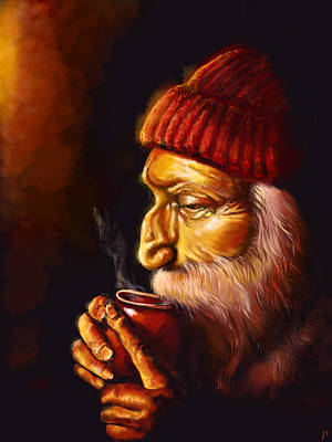 Old Man Digital Art - Old Man And Tea by Patricia C Bernhard