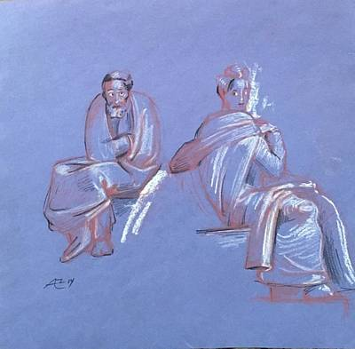 Drawing - Old Man And Woman After  Michelangelo by Alejandro Lopez-Tasso