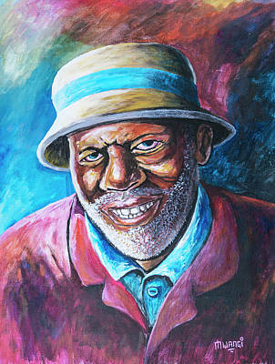 Painting - Old Man by Anthony Mwangi