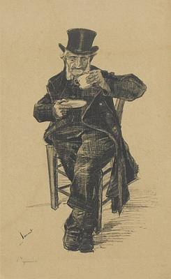 Old Man Drinking Coffee The Hague Print by MotionAge Designs