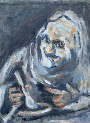 Painting - Old Man Eating, After Goya by Christel Roelandt