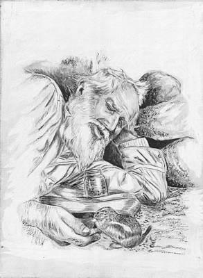 Old Man Feeding Chipmunk Art Print by Samuel Showman