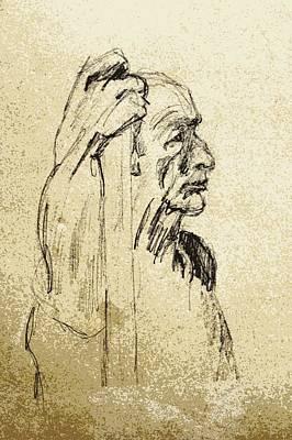 Old Man Holding Staff Art Print