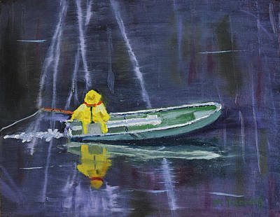 Painting - Old Man In A Boat by Michael Daniels