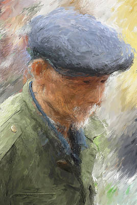 Old Chinese Man Painting - Old Man In Grey Cap by Yazz