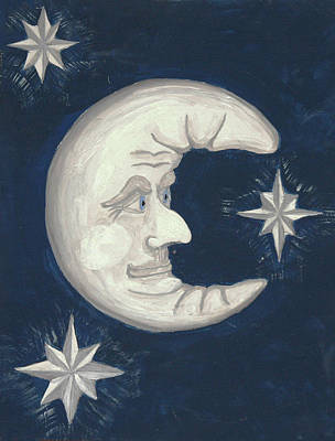 Man In The Moon Painting - Old Man Moon by Gordon Wendling