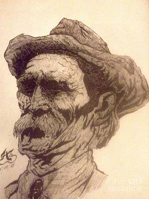 Indian Ink Mixed Media - Old Man Of The Fifty by Franky A HICKS