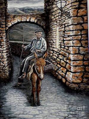 Old Man On A Donkey Art Print