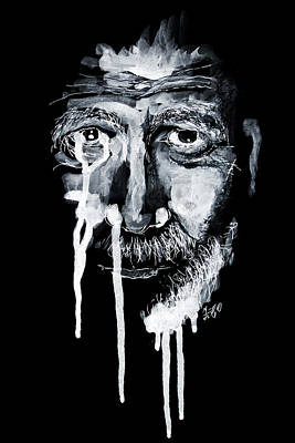 Drawing - Old Man Portrait by ZileArt