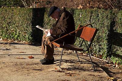 Photograph - Old Man Reading In A Winter Morning by David Resnikoff