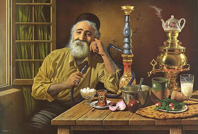 Mystic Desert Painting - Old Man Smoking Water Pipe by Salma