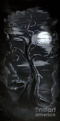 Old Man Tree And Goddess Moon Art Print