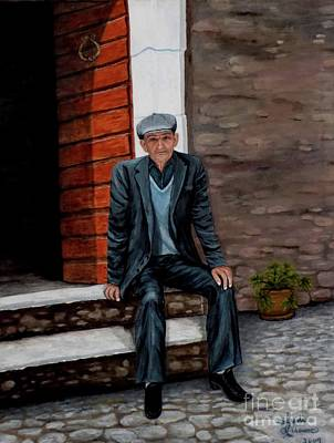 Painting - Old Man Waiting by Judy Kirouac
