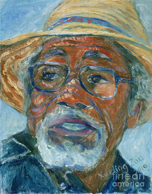 Art Print featuring the painting Old Man Wearing A Hat by Xueling Zou