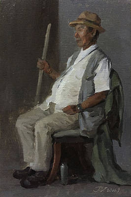 Field Painting - Old Man by Wei Jia