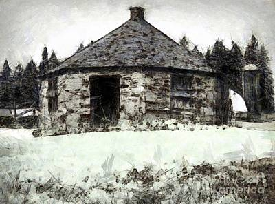 Photograph - Old Man Winter - Old Stone Jug Schoolhouse South Canaan Pa by Janine Riley