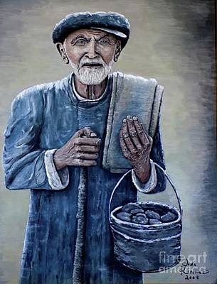 Old Man With His Stones Art Print
