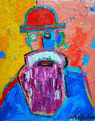 Old Man With Beard Painting - Old Man With Red Bowler Hat by Ana Maria Edulescu