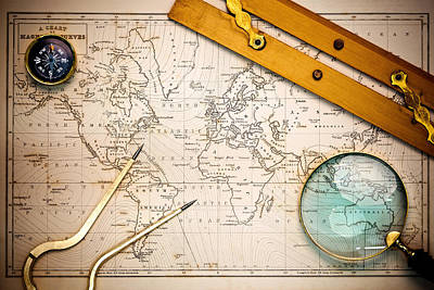 World Map Poster Photograph - Old Map And Navigational Objects. by Richard Thomas