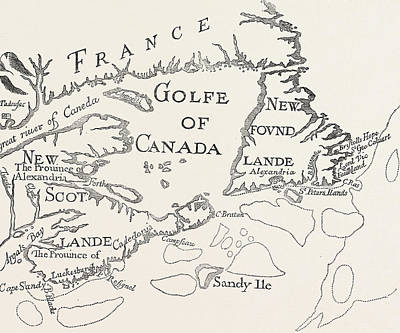 Canada Drawing - Old Map Of Acadie  Canada by French School