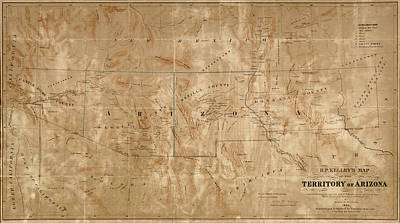Drawing - Old Map Of Arizona And New Mexico By Arthur De Witzleben - 1860 by Blue Monocle
