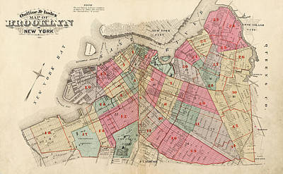 Music Map Drawing - Old Map Of Brooklyn by Roy Pedersen