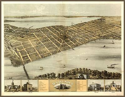 Old Map Of Madison Wisconsin  Art Print by Pd