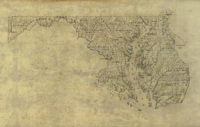 Drawing - Old Map Of Maryland And Delaware - 1893 by Blue Monocle