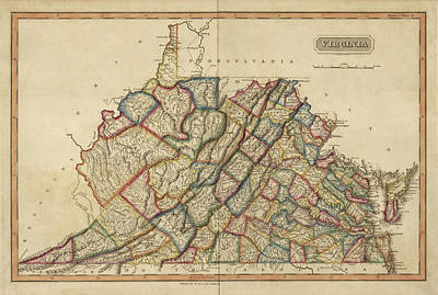 Drawing - Old Map Of Virginia And West Virginia By Fielding Lucas - Circa 1817 by Blue Monocle