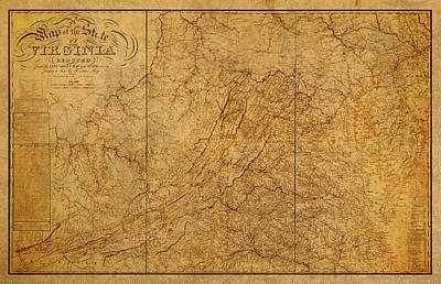 Old Map Of Virginia State Schematic Circa 1859 On Worn Distressed Parchment Art Print