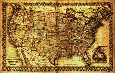 Painting - Old Map United States by Lucia Sirna