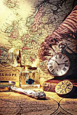 Old Map Photograph - Old Maps And Ink Well by Garry Gay