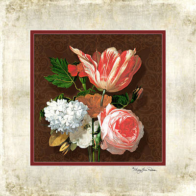 Parrot Art Mixed Media - Old Masters Reimagined - Parrot Tulip by Audrey Jeanne Roberts