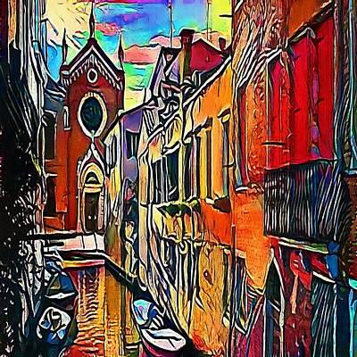 old medieval houses in Venice, Italy - My WWW vikinek-art.com Art Print