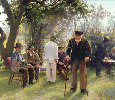Old Men In Rockingham Park Art Print by Walter Bonner Gash