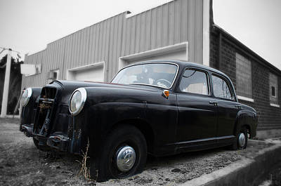 Photograph - Old Mercedes Sitting At The Shop - Color On Black And White by Janice Adomeit
