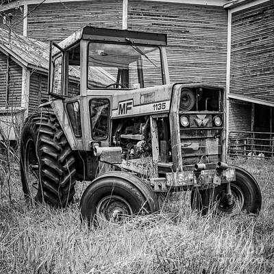 Round Barn Photograph - Old Mf Tractor Square by Edward Fielding