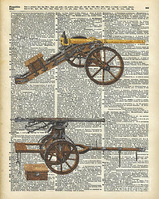 Old Military Cannons Over Dictionary Book Page Art Print