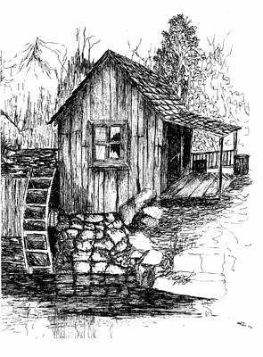 Grist Mill Drawing - Old Mill by Barney Hedrick