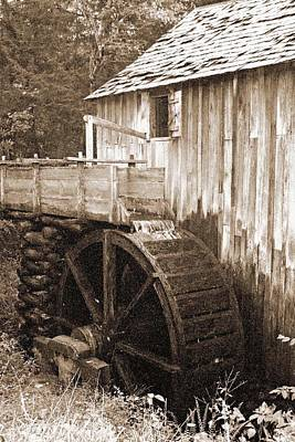 Photograph - Old Mill - Great Smoky Mountains 01a - Bw - Water Paper by Pamela Critchlow