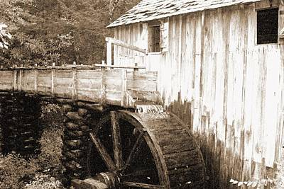 Photograph - Old Mill - Great Smoky Mountains 02 - Bw - Water Paper by Pamela Critchlow