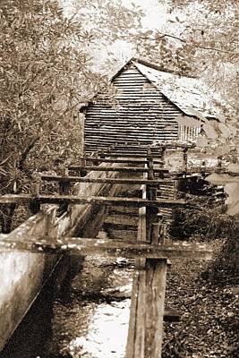 Photograph - Old Mill - Great Smoky Mountains 04 - Bw - Water Paper by Pamela Critchlow