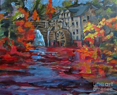Grist Mill Drawing - Old Mill In Autumn by John Malone