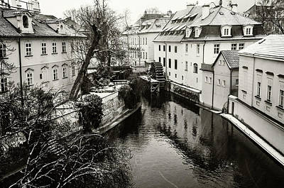 Photograph - Old Mill. Little Prague Venice. Monochrome by Jenny Rainbow