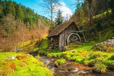 Old Mill Near A Stream L B Art Print